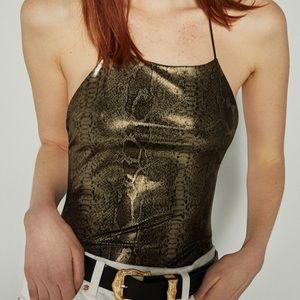 5/15$ Bershka Metallic snakeskin print bodysuit